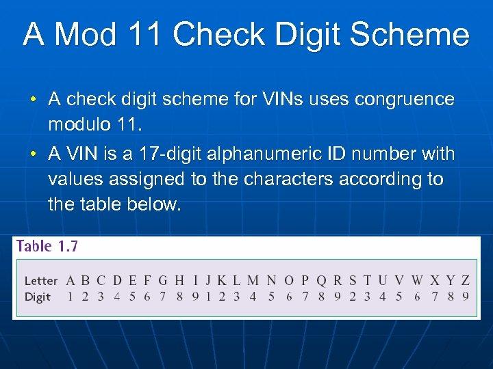 A Mod 11 Check Digit Scheme • A check digit scheme for VINs uses