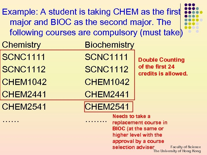 Example: A student is taking CHEM as the first major and BIOC as the
