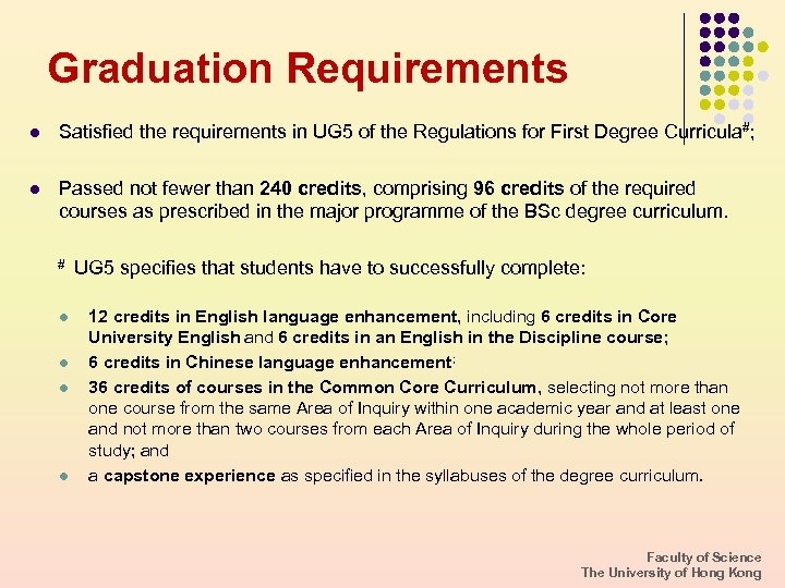 Graduation Requirements l Satisfied the requirements in UG 5 of the Regulations for First