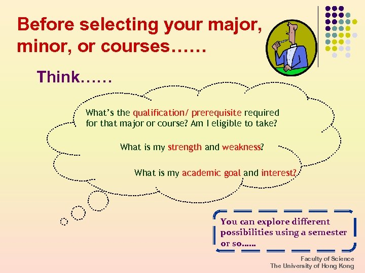 Before selecting your major, minor, or courses…… Think…… What's the qualification/ prerequisite required for