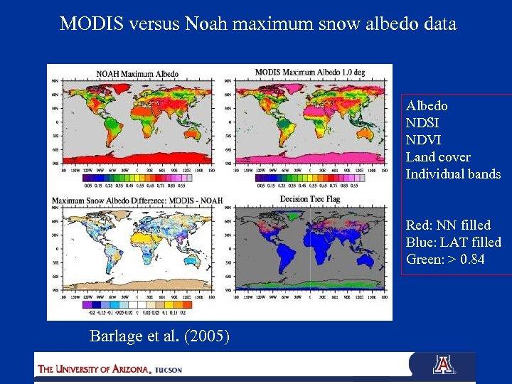 MODIS versus Noah maximum snow albedo data Albedo NDSI NDVI Land cover Individual bands