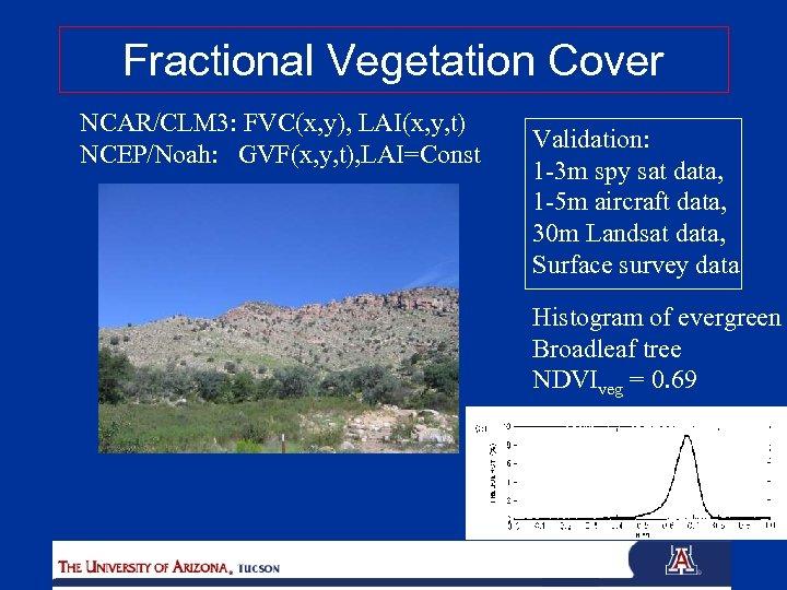 Fractional Vegetation Cover NCAR/CLM 3: FVC(x, y), LAI(x, y, t) NCEP/Noah: GVF(x, y, t),