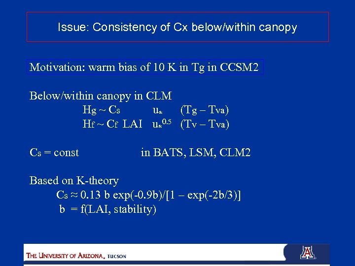 Issue: Consistency of Cx below/within canopy Motivation: warm bias of 10 K in Tg