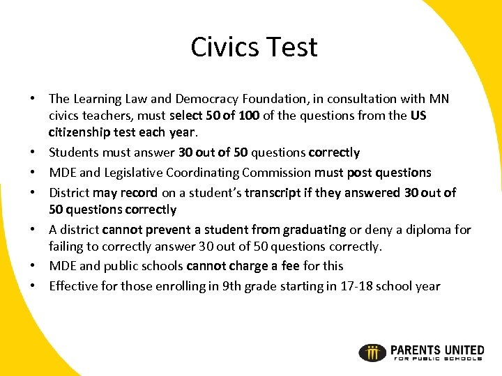 Civics Test • The Learning Law and Democracy Foundation, in consultation with MN civics