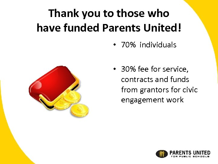 Thank you to those who have funded Parents United! • 70% individuals • 30%