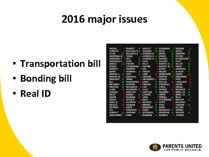 2016 major issues • Transportation bill • Bonding bill • Real ID