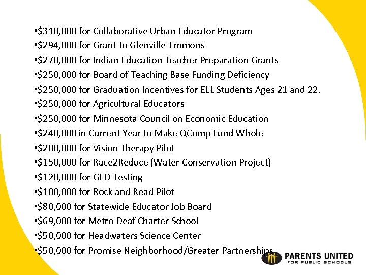• $310, 000 for Collaborative Urban Educator Program • $294, 000 for Grant