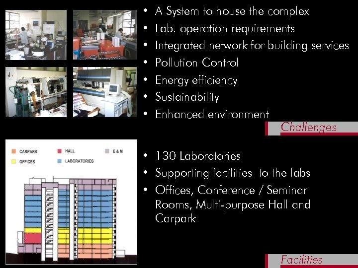 • • A System to house the complex Lab. operation requirements Integrated network