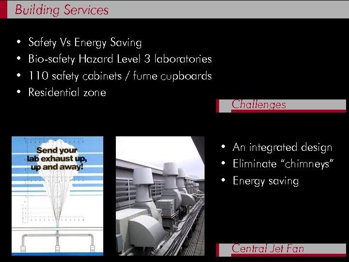 Building Services • • Safety Vs Energy Saving Bio-safety Hazard Level 3 laboratories 110