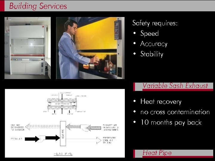 Building Services Safety requires: • Speed • Accuracy • Stability Variable Sash Exhaust •