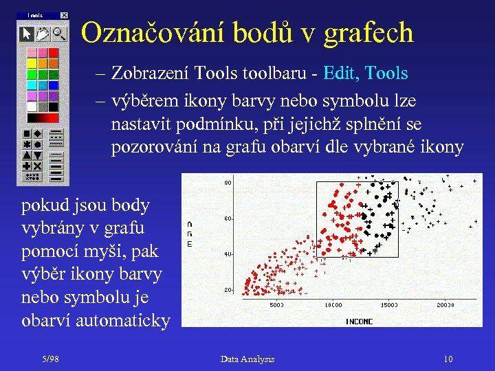 Označování bodů v grafech – Zobrazení Tools toolbaru - Edit, Tools – výběrem ikony