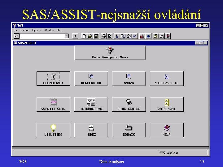 SAS/ASSIST-nejsnažší ovládání 5/98 Data Analysis 15