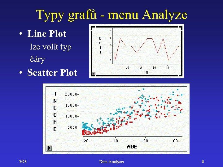 Typy grafů - menu Analyze • Line Plot lze volit typ čáry • Scatter