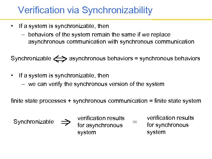 Verification via Synchronizability • If a system is synchronizable, then – behaviors of the