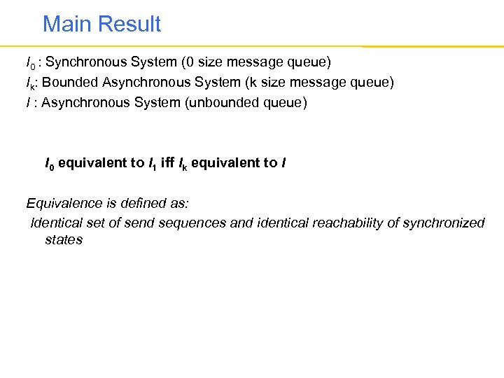 Main Result I 0 : Synchronous System (0 size message queue) Ik: Bounded Asynchronous