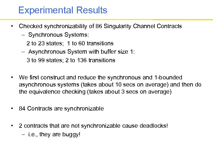 Experimental Results • Checked synchronizability of 86 Singularity Channel Contracts – Synchronous Systems: 2