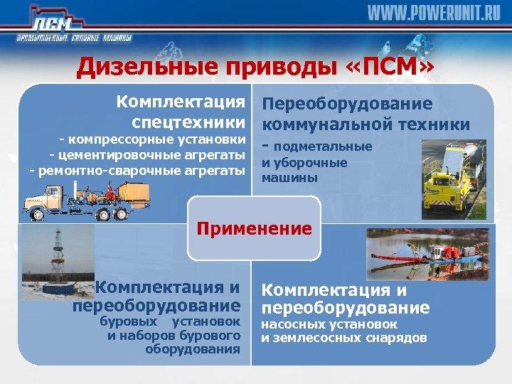 Дизельные приводы «ПСМ» Комплектация Переоборудование спецтехники коммунальной техники - компрессорные установки - подметальные -