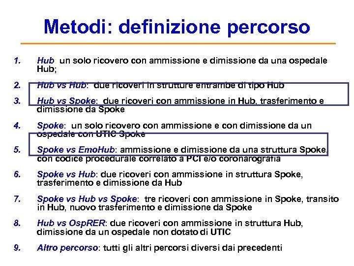 Metodi: definizione percorso 1. Hub: un solo ricovero con ammissione e dimissione da una