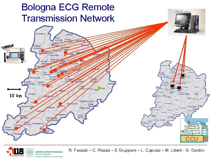 Bologna ECG Remote Transmission Network LIFENET server 10 km CCU R. Faccioli – C.