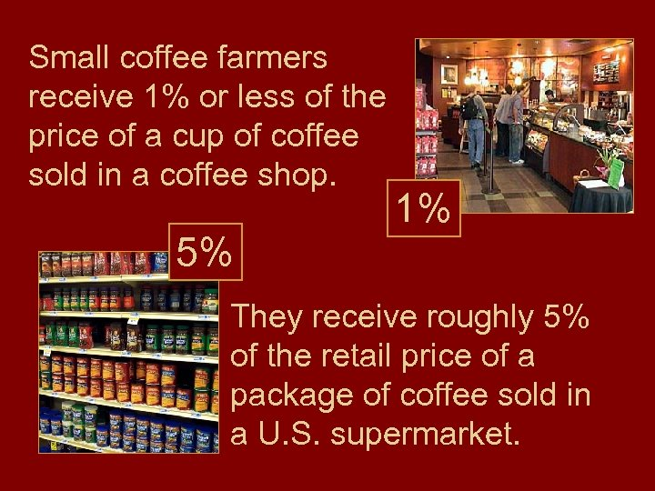 Small coffee farmers receive 1% or less of the price of a cup of