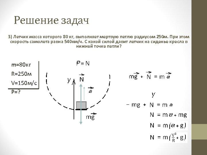 Решение задач 3) Летчик масса которого 80 кг, выполняет мертвую петлю радиусом 250 м.