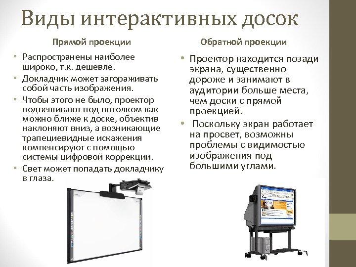 Виды интерактивных досок Прямой проекции • Распространены наиболее широко, т. к. дешевле. • Докладчик