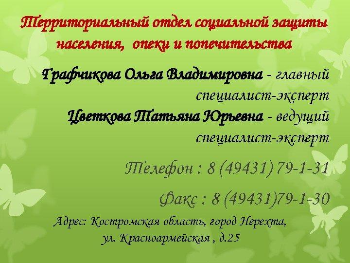 Территориальный отдел социальной защиты населения, опеки и попечительства Графчикова Ольга Владимировна - главный специалист-эксперт
