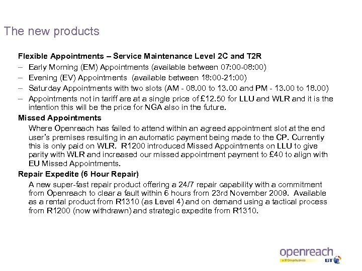 The new products Flexible Appointments – Service Maintenance Level 2 C and T 2