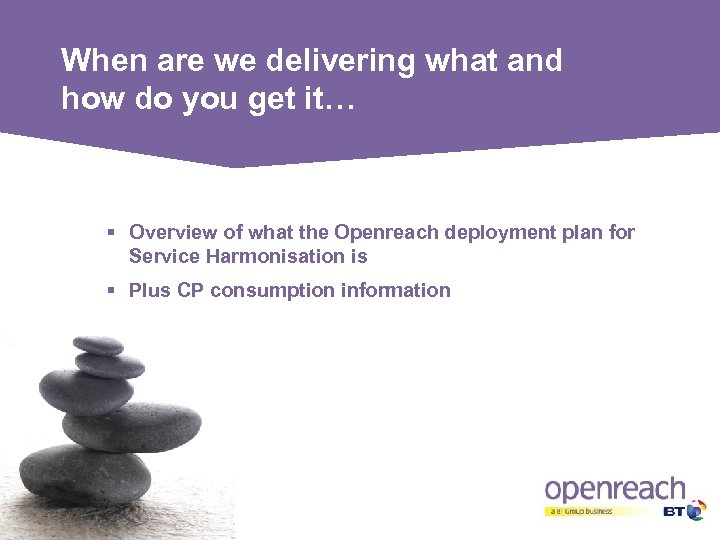 When are we delivering what and how do you get it… § Overview of