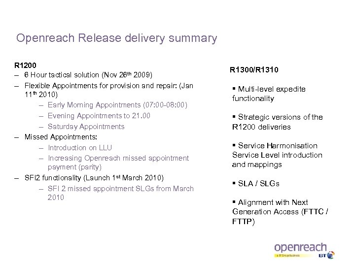 Openreach Release delivery summary R 1200 – 6 Hour tactical solution (Nov 26 th