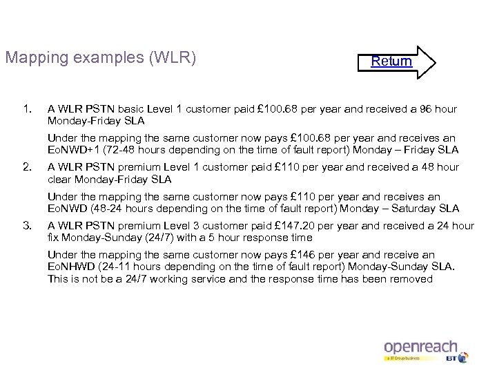 Mapping examples (WLR) 1. Return A WLR PSTN basic Level 1 customer paid £