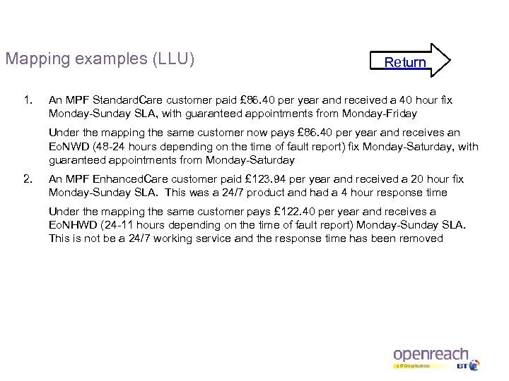 Mapping examples (LLU) 1. Return An MPF Standard. Care customer paid £ 86. 40