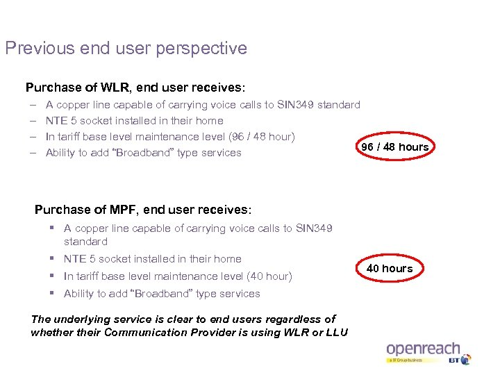 Previous end user perspective Purchase of WLR, end user receives: – – A copper