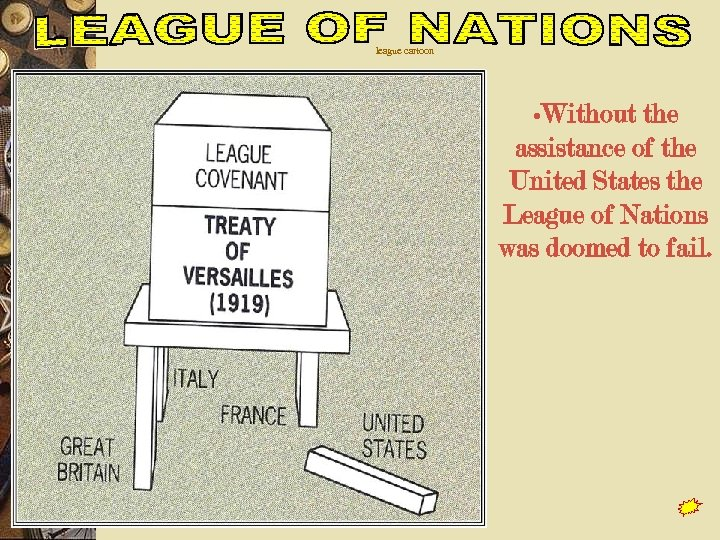 league cartoon • Without the assistance of the United States the League of Nations