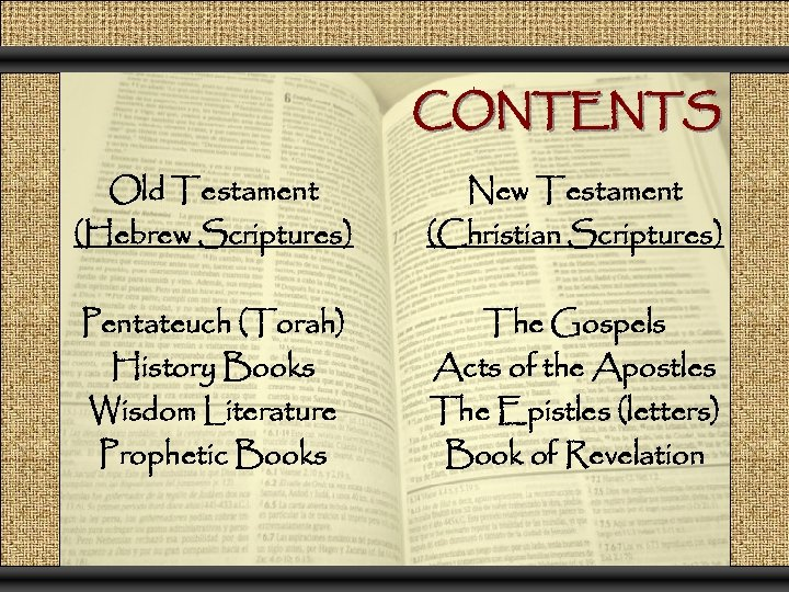 CONTENTS Old Testament (Hebrew Scriptures) New Testament (Christian Scriptures) Pentateuch (Torah) History Books Wisdom