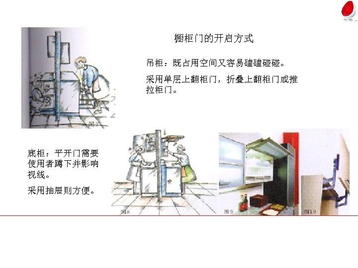 橱柜门的开启方式 吊柜:既占用空间又容易磕磕碰碰。 采用单层上翻柜门,折叠上翻柜门或推 拉柜门。 底柜:平开门需要 使用者蹲下并影响 视线。 采用抽屉则方便。