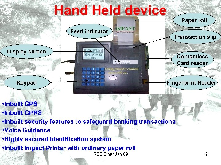Hand Held device Feed indicator Paper roll Transaction slip Display screen Contactless Card reader