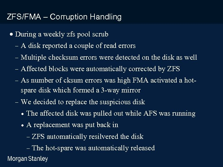 prototype template (5428278)print library_new_final. ppt ZFS/FMA – Corruption Handling · During a weekly zfs