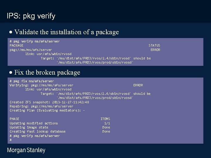 prototype template (5428278)print library_new_final. ppt IPS: pkg verify · Validate the installation of a
