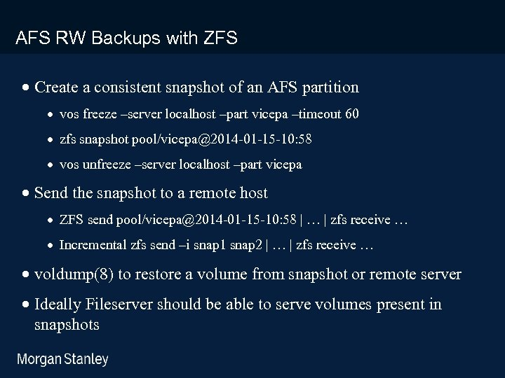 prototype template (5428278)print library_new_final. ppt AFS RW Backups with ZFS · Create a consistent
