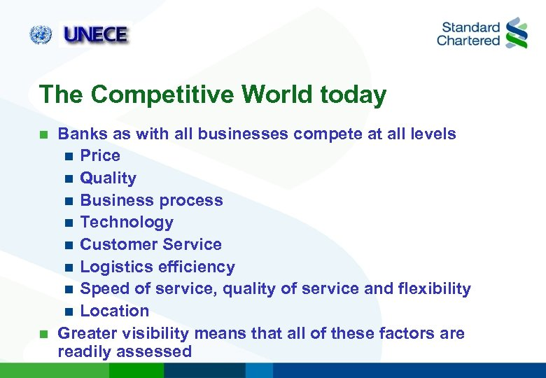 The Competitive World today Banks as with all businesses compete at all levels n