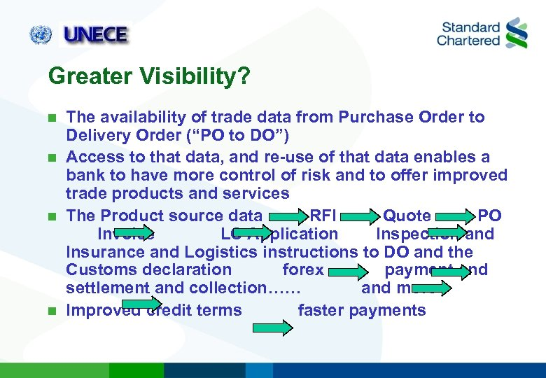 "Greater Visibility? The availability of trade data from Purchase Order to Delivery Order (""PO"