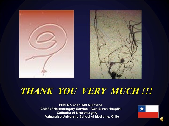 THANK YOU VERY MUCH !!! Prof. Dr. Leónidas Quintana Chief of Neurosurgery Service –
