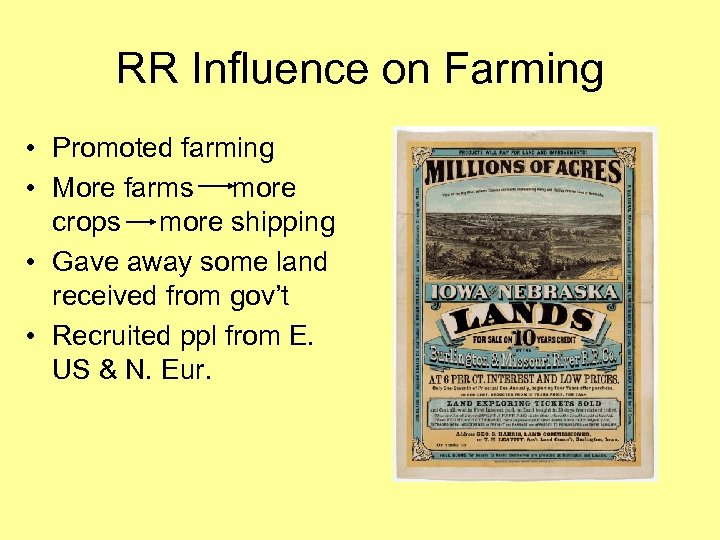 RR Influence on Farming • Promoted farming • More farms more crops more shipping