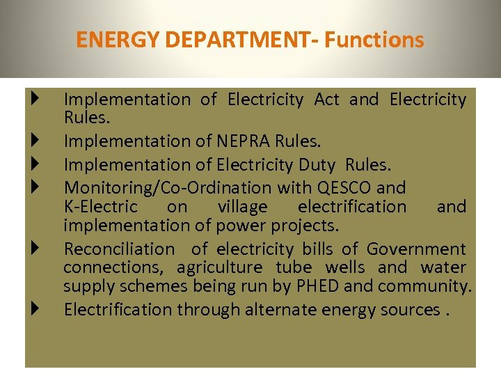 ENERGY DEPARTMENT- Functions Implementation of Electricity Act and Electricity Rules. Implementation of NEPRA Rules.