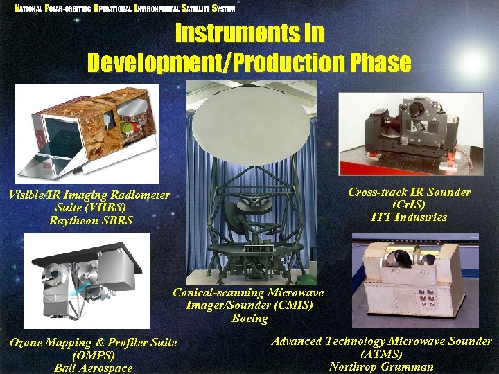 NATIONAL POLAR-ORBITING OPERATIONAL ENVIRONMENTAL SATELLITE SYSTEM Instruments in Development/Production Phase Cross-track IR Sounder (Cr.