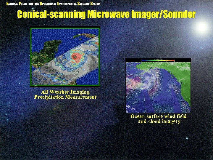 NATIONAL POLAR-ORBITING OPERATIONAL ENVIRONMENTAL SATELLITE SYSTEM Conical-scanning Microwave Imager/Sounder All Weather Imaging Precipitation Measurement