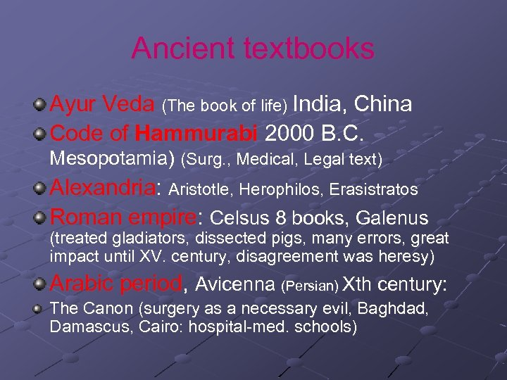 Ancient textbooks Ayur Veda (The book of life) India, China Code of Hammurabi 2000