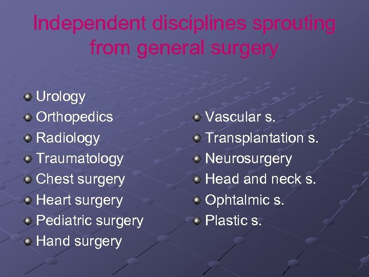 Independent disciplines sprouting from general surgery Urology Orthopedics Radiology Traumatology Chest surgery Heart surgery