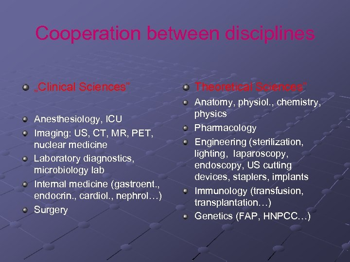 "Cooperation between disciplines ""Clinical Sciences"" Anesthesiology, ICU Imaging: US, CT, MR, PET, nuclear medicine"